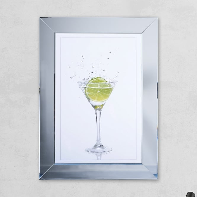 SHH Interiors Lime Glass Print Mirror with Liquid Glass and Swarovski Crystals 54 x 74 cm