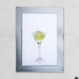 Lime Glass Print Mirror with Liquid Glass and Swarovski Crystals 54 x 74 cm
