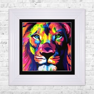 Lion Print Framed Liquid Artwork