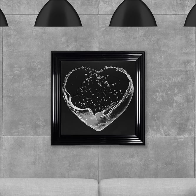 SHH Interiors Liquid Heart Printed Glass - Greyscale Made with Liquid Glass and Swarovski Crystals 75 x 75 cm