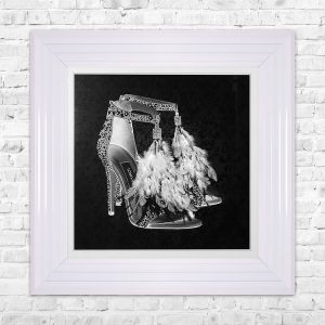 LONDON SHOE Black Print Framed Liquid Artwork and Swarovski Crystals