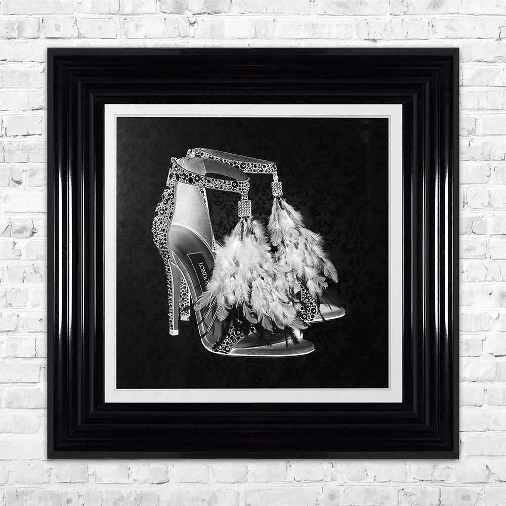 London shoe black with feathers framed wall art