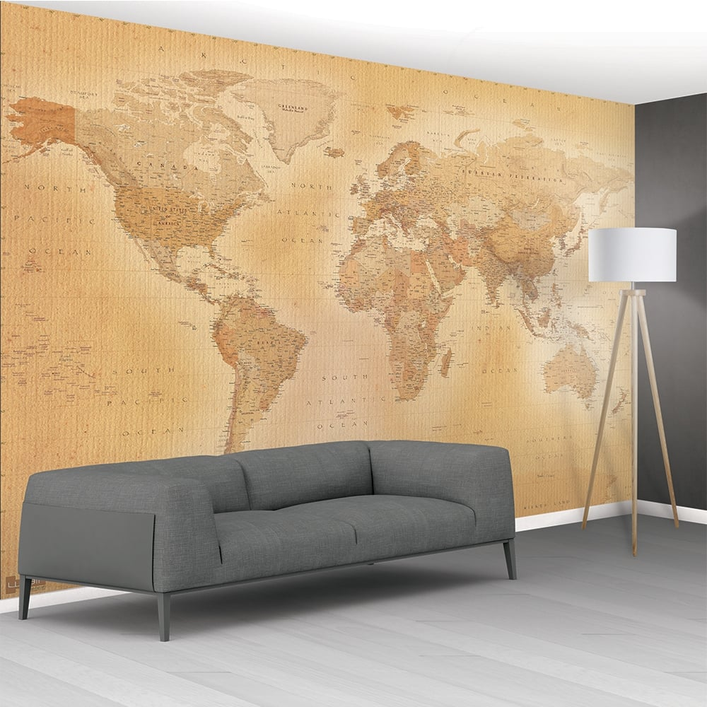1wall vintage old map mural wallpaper 366cm x 232cm for 1wall forest wallpaper mural