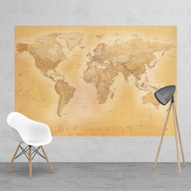 Maps In Minutes Vintage Colour World Map Feature Wall Wallpaper Mural | 158cm x 232cm