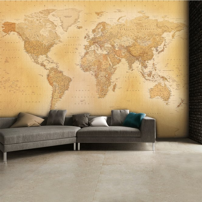 Maps In Minutes Vintage Oldmap Wall Mural | 315cm x 232cm