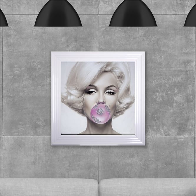 SHH Interiors Marilyn Monroe Blowing Gum Framed Liquid Artwork and Swarovski Crystals