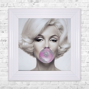 Marilyn Monroe Blowing Gum Framed Liquid Artwork and Swarovski Crystals