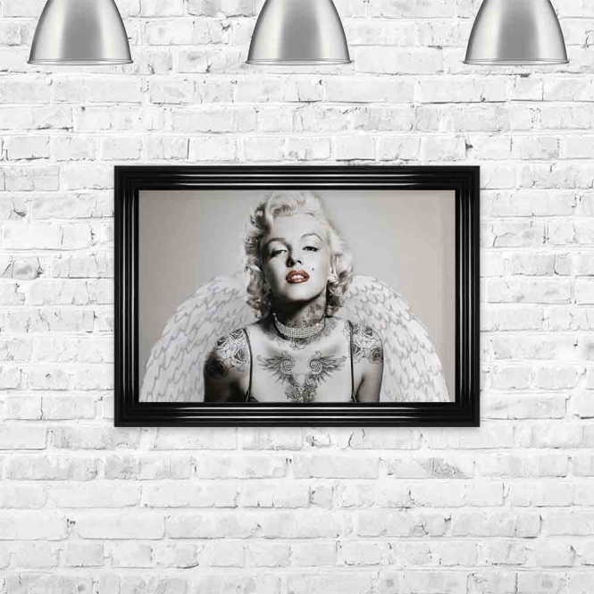 MARILYN WITH TATTOOS AND WINGS FRAMED WALL ART