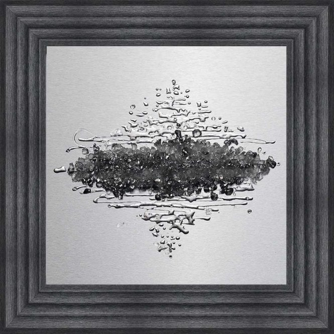 METALLIC SILVER CRUSHED GLASS CLUSTER ALUMINIUM PANEL FRAMED WALL ART