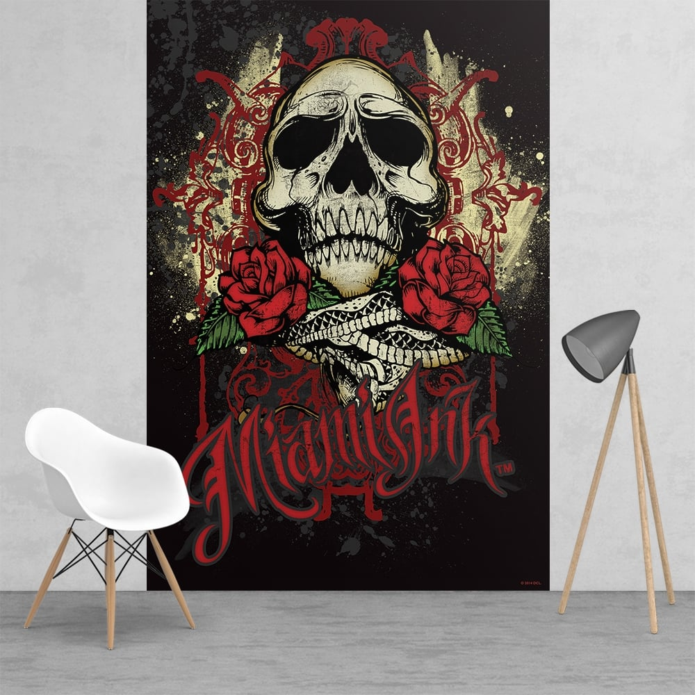 Miami Ink Tattoo Skull Black And Red Feature Wall