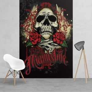 Miami Ink Tattoo Skull Black and Red Feature Wall Wallpaper Mural | 158cm x 232cm