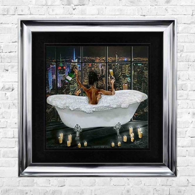 MIDNIGHT BATH CELEBRATION WITH CANDLES BLACK MOUNT FRAMED WALL ART