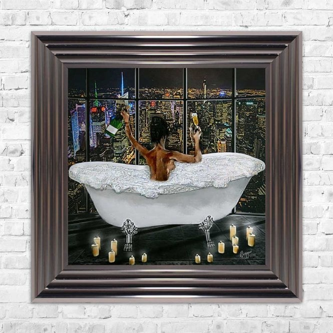 MIDNIGHT BATH CELEBRATION WITH CANDLES FRAMED WALL ART