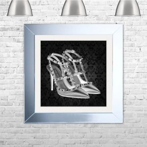 Milan Shoe Black Framed Liquid Artwork and Swarovski Crystals