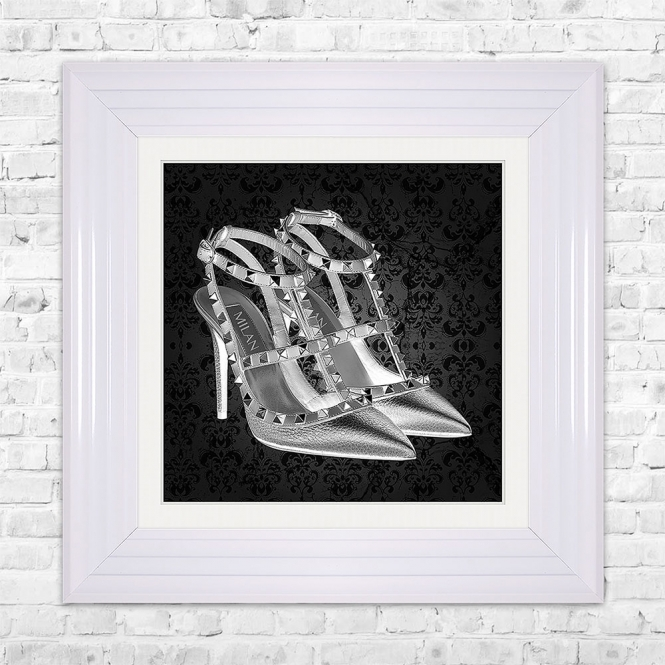SHH Interiors MILAN SHOE Black Print Framed Liquid Artwork and Swarovski Crystals