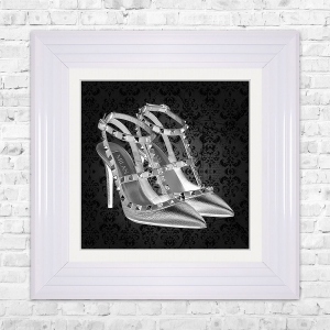 MILAN SHOE Black Print Framed Liquid Artwork and Swarovski Crystals