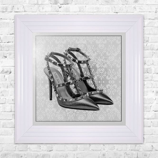 SHH Interiors MILAN SHOE White Print Framed Liquid Artwork and Swarovski Crystals