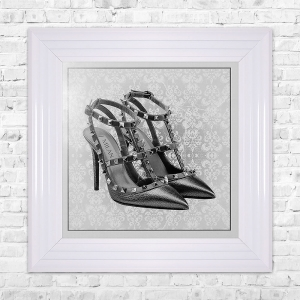 MILAN SHOE White Print Framed Liquid Artwork and Swarovski Crystals