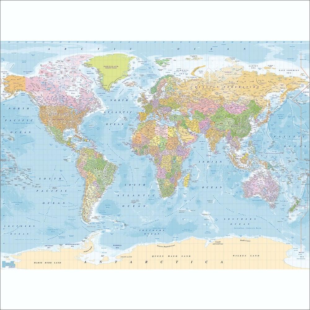 Modern Educational Blue World Map Wallpaper Mural | 315cm x 232cm