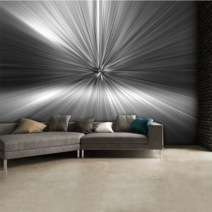 Modern Geometric Black and White Silver Blast Abstract Wall Mural | 315cm x 232cm