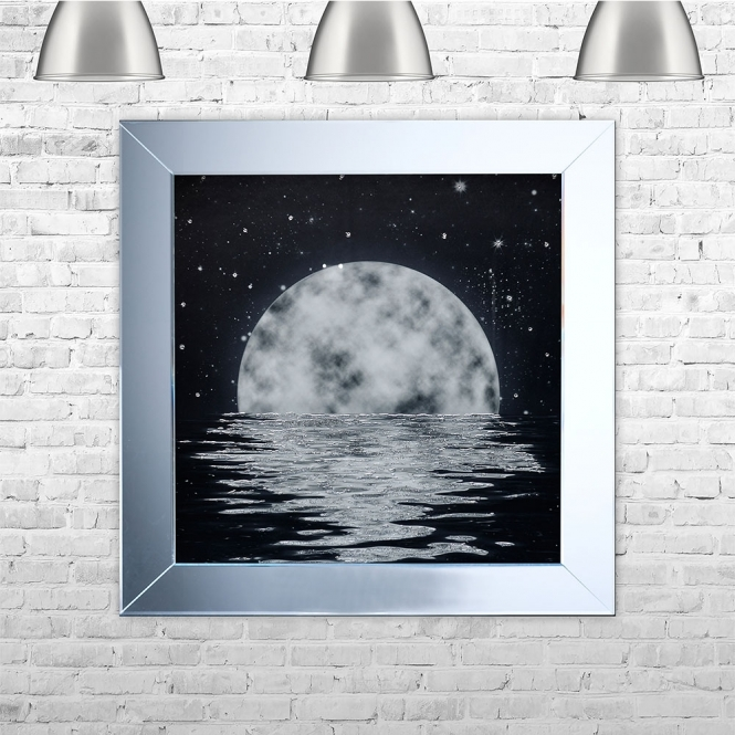 SHH Interiors Moon Framed Liquid Artwork with crushed glass and Swarovski Crystals