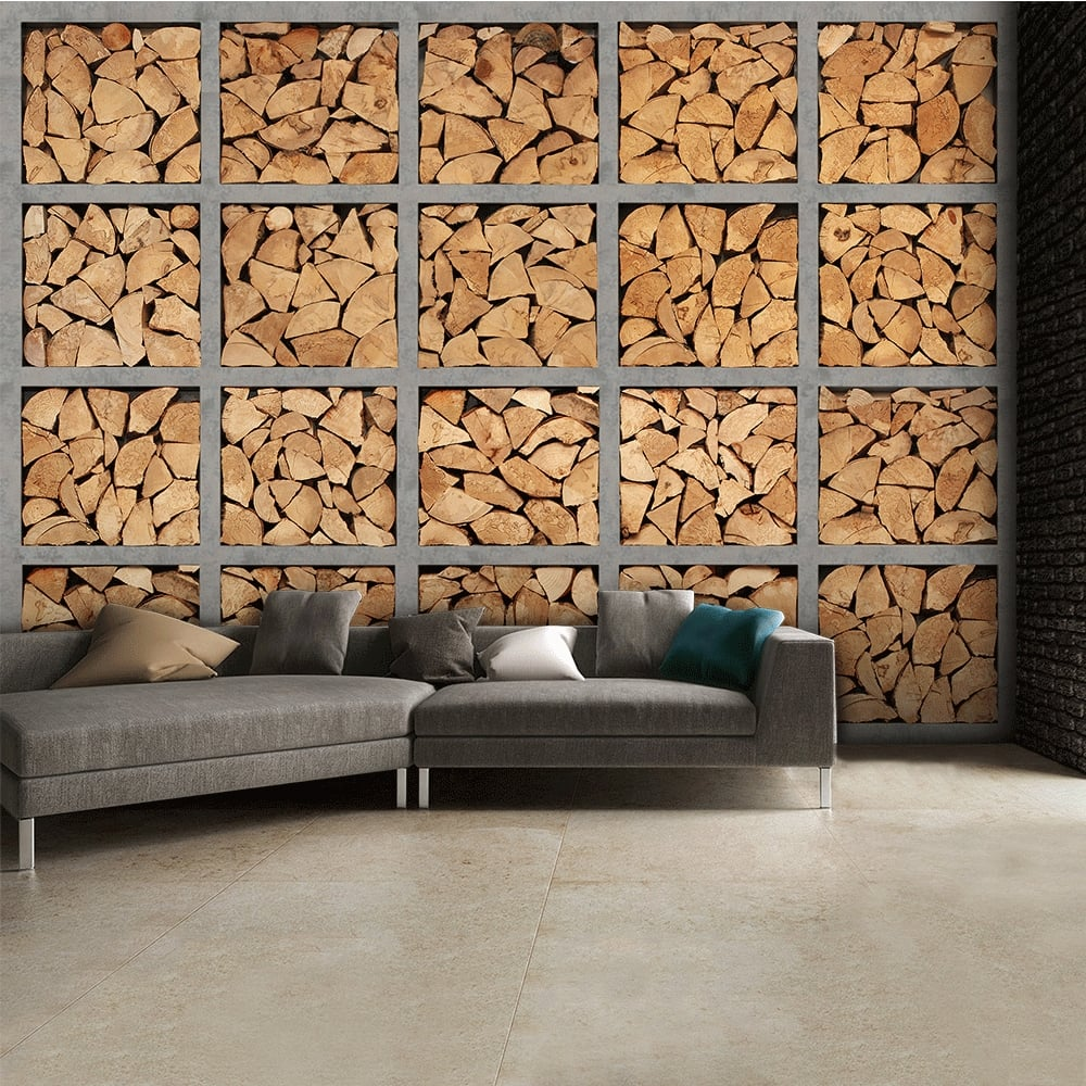 Neutral Stacked Fire Wood Logs Wall Mural | 315cm x 232cm