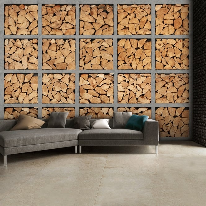 1Wall Neutral Stacked Fire Wood Logs Wall Mural | 315cm x 232cm