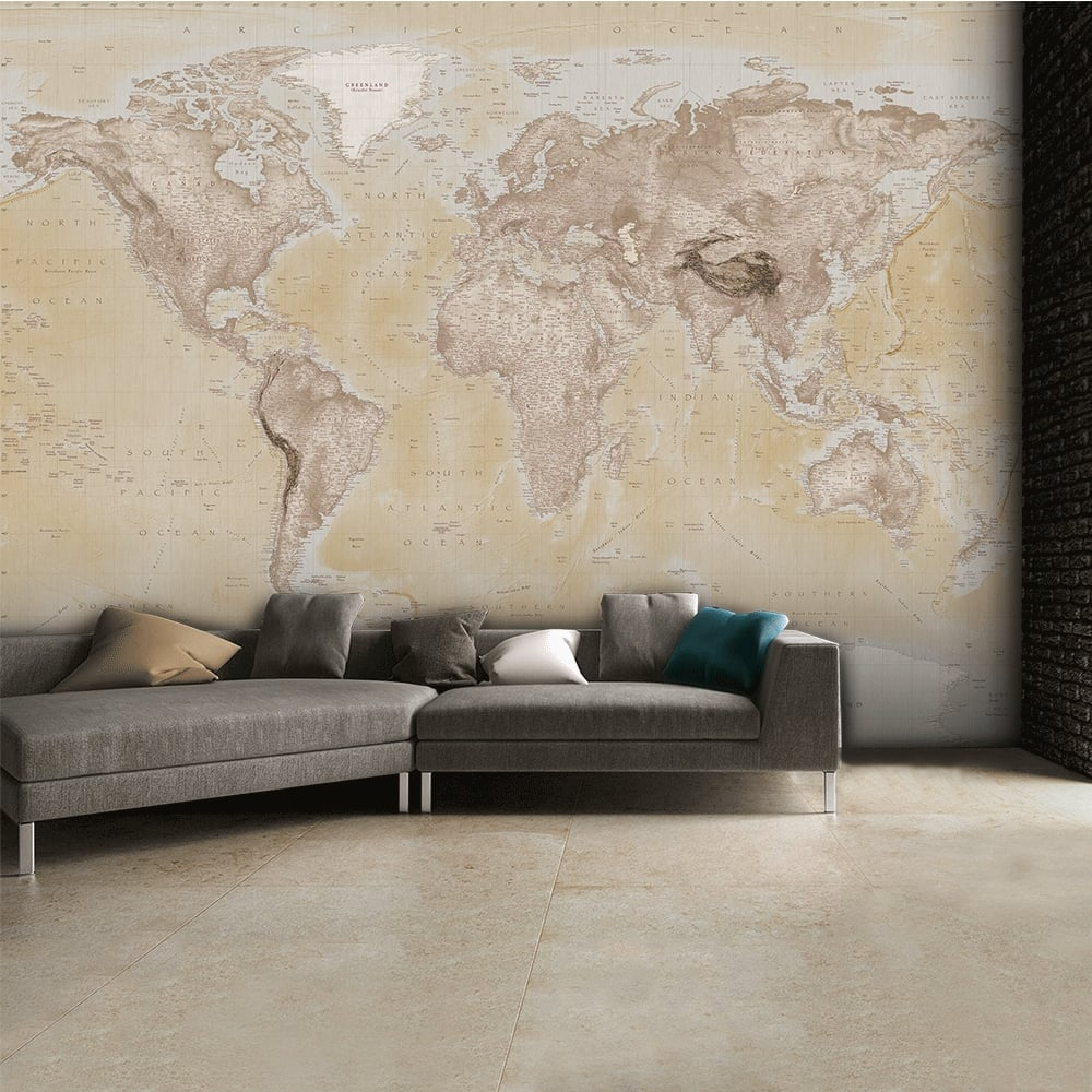 Neutral world map feature wall wallpaper mural 315cm x 232cm for Mural wallpaper