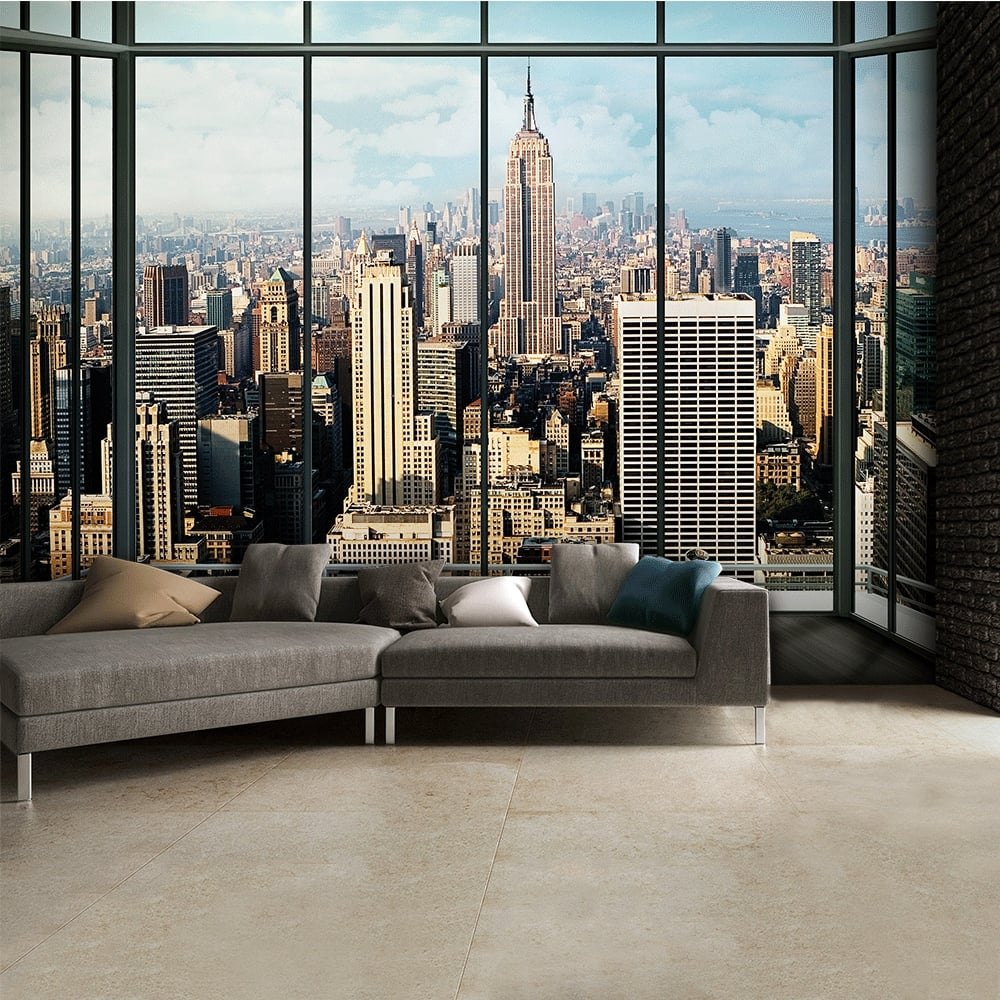 New york city window effect skyline wall mural 315cm x 232cm for Cityscape wall mural
