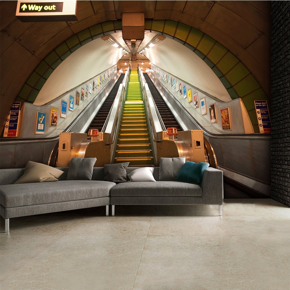 york subway underground escalator wall mural 315cm x 232cm new york subway underground escalator wall mural 315cm x 232cm