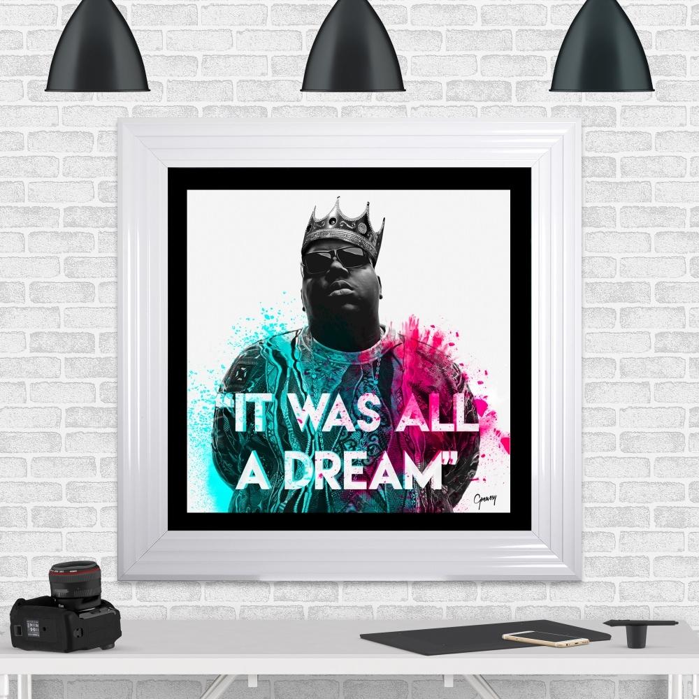 Notorious B.I.G | Biggie Smalls Framed Artwork by Greavesy | White ...
