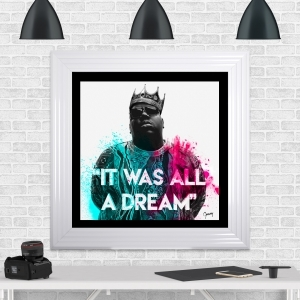 Notorious B.I.G | Biggie Smalls Framed Artwork by Greavesy | White Frame Black Mount 75cm x 75cm