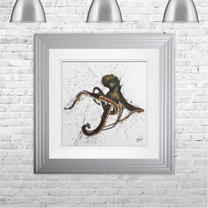OCTOPUS - HAND PAINTED WITH PHEASANT FEATHERS FRAMED WALL ART