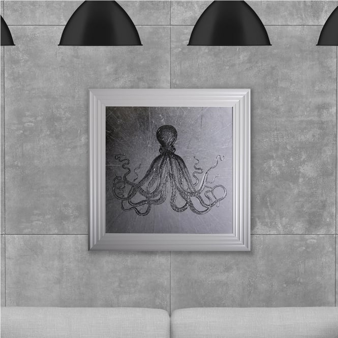 SHH Interiors Octopus Print 2 Hand Made with Liquid Glass and Swarovski Crystals 75 x 75 cm