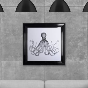 Octopus Print Black Hand Made with Liquid Glass and Swarovski Crystals 75 x 75 cm