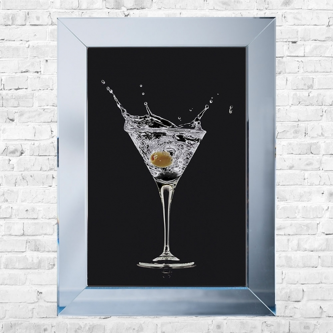 SHH Interiors Olive Cocktail Black Background Framed Liquid Artwork and Swarovski Crystals