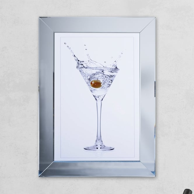 SHH Interiors Olive Glass Print Mirror with Liquid Glass and Swarovski Crystals 54 x 74 cm