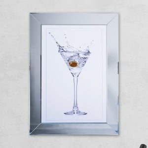 Olive Glass Print Mirror with Liquid Glass and Swarovski Crystals 54 x 74 cm