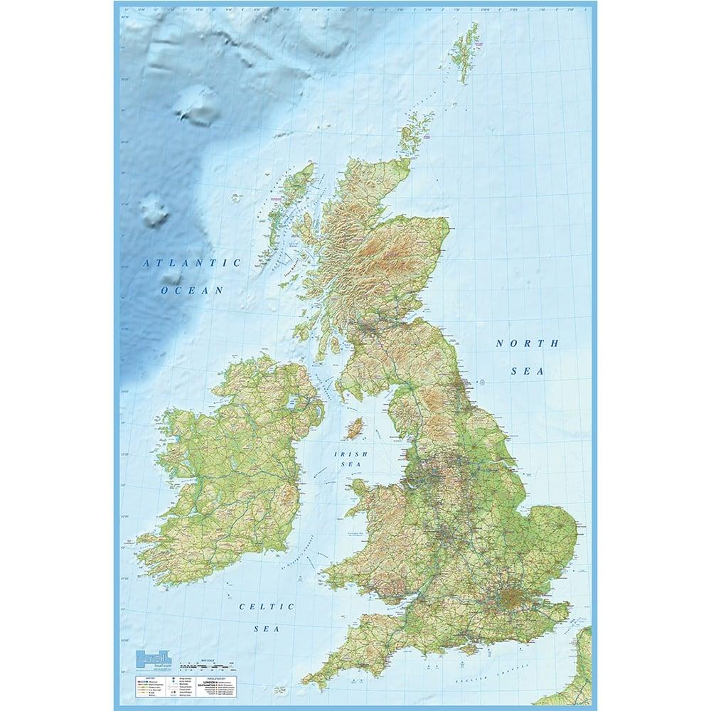 British Isles Map Feature Wall Wallpaper Mural | 158cm x 232cm