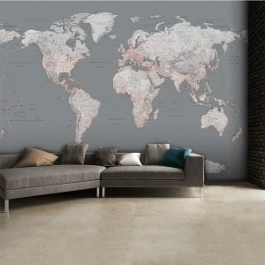 Detailed Silver Grey World Map Feature Wall Wallpaper Mural | 315cm x 232cm