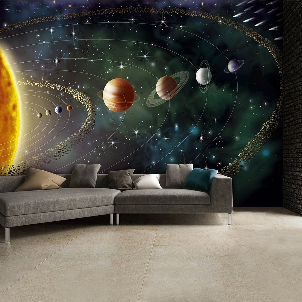 Outerspace planets and stars wall mural 315cm x 232cm for Outer space stage design