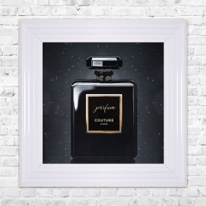 Parfum Black Print Framed Liquid Artwork and Swarovski Crystals