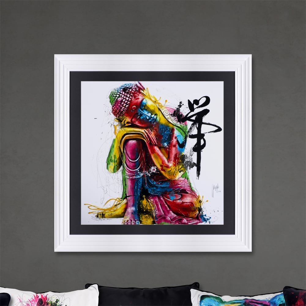 patrice murciano 90x90 bouddha feng shui framed picture framed artwork from uk. Black Bedroom Furniture Sets. Home Design Ideas