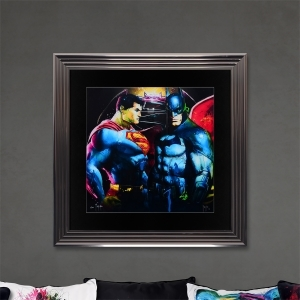 Batman Superman Limited Edition Framed Liquid Artwork Signed with Limited Edition Number