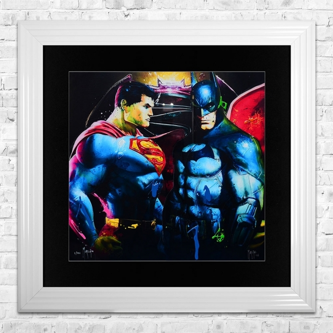 Patrice Murciano BATMAN VS SUPERMAN Limited Edition Framed Liquid Artwork Signed with Limited Edition Number