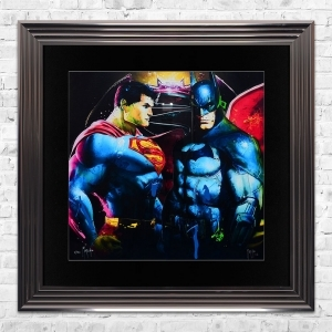 BATMAN VS SUPERMAN Limited Edition Framed Liquid Artwork Signed with Limited Edition Number