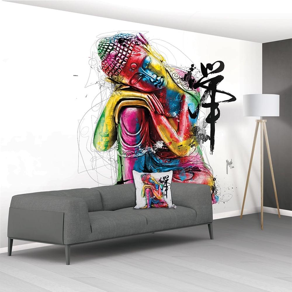 Patrice murciano buddha xxl non woven mural 366cm x 232cm for Buddha wall mural