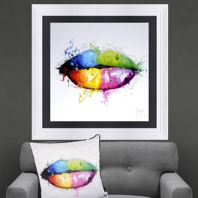Patrice Murciano Candy Lips Framed Artwork 90cm x 90cm