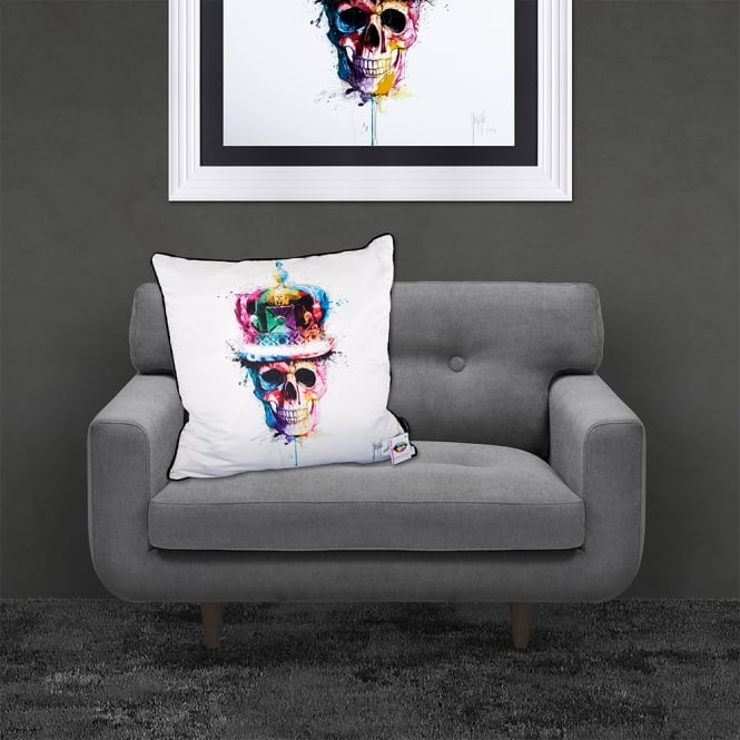 Patrice Murciano Licensed 55cm Luxury Feather Filled Cushion - GOD SAVE THE QUEEN 'CROWN SKULL'