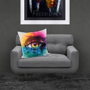 Patrice Murciano Licensed 55cm Luxury Feather Filled Cushion - REQUIEM FOR A DREAM 'COLOURFUL EYE'